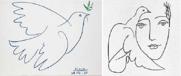 Рисунок Пабло Пикассо «Голубь мира»; другая работа художника с образом голубя