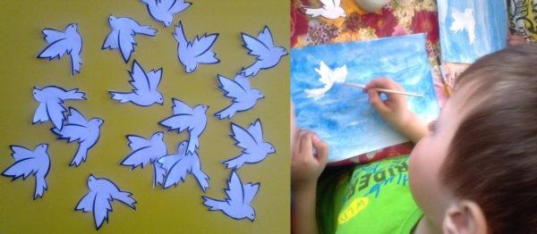 Шаблоны для рисования голубя, мальчик раскрашивает голубя