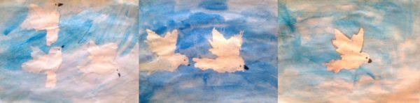 Варианты детских рисунков голубей с помощью шаблона