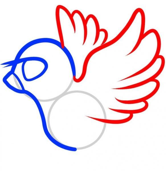 У голубёнка добавляются поднятые вверх крылышки