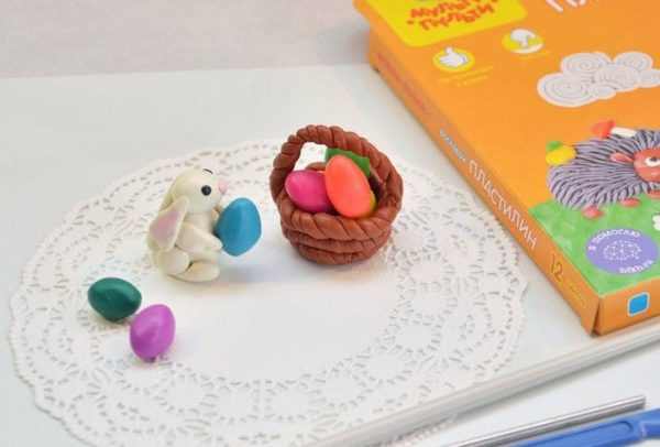 В корзинке лежат разноцветные яички