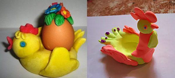 Подставка под яичко в форме цыплёнка и петушка