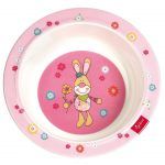 Розовая тарелка с зайцем