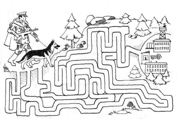 Игра Лабиринт с пограничником и собакой