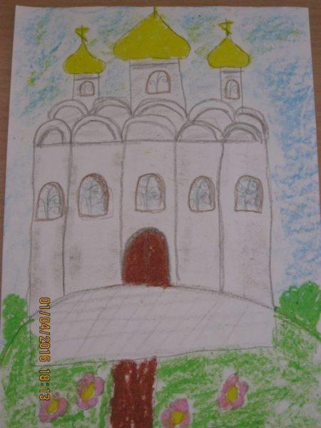Готовый рисунок храма на холме