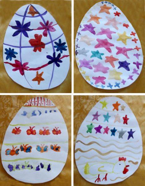 Яйца, украшенные звёздочками, бабочкам и и петушком