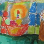 Пасхальная композиция — кулич и яйца в тарелке
