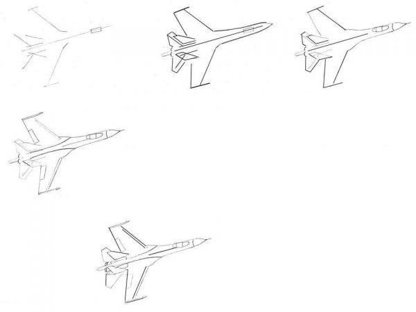 Военный самолёт, пять этапов рисования