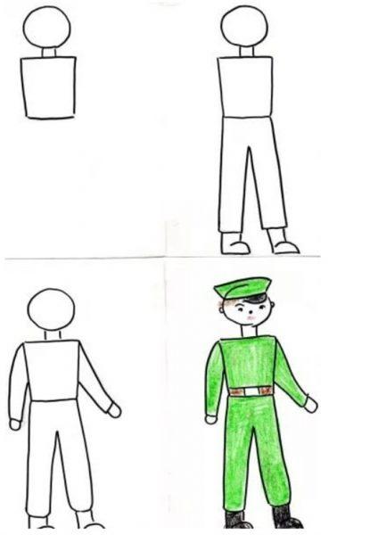Схем рисования солдата