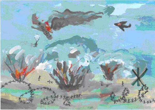 Рисунок войны с подбитым немецким самолётом