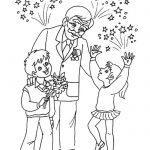 Раскраска Дети с ветераном и салют