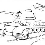 Раскраска Танк и Вертолёт