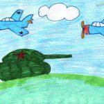 Рисунок фломастерами Танк и самолёты