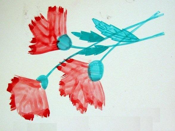 Гвоздики (бутоны нарисованы зубной щёткой)