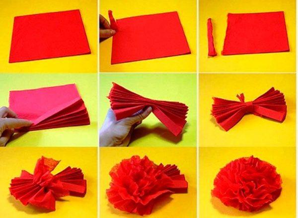Инструкция по изготовлению красной гвоздики из салфетки