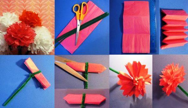 Инструкция по изготовлению гвоздики с использованием синельной проволоки