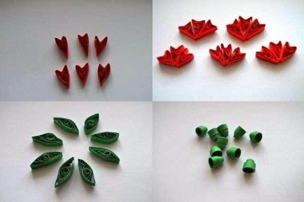 Четыре шага изготовления гвоздик: лепестки, листья и чашлистики