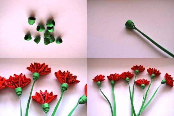 Четыре шага с готовыми цветами
