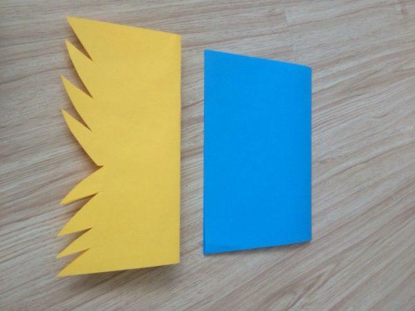 Лист жёлтого цвета с вырезанными острыми краями