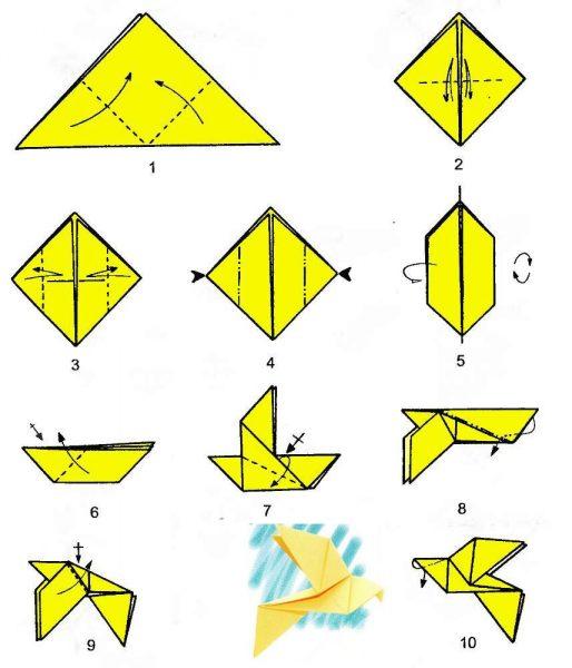 Схема выполнения голубя из бумаги