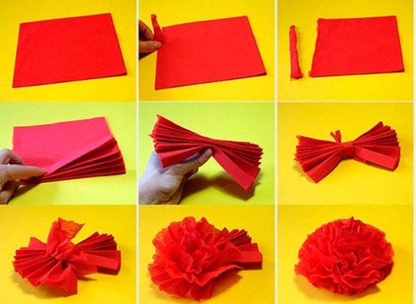 Схема выполнения красной гвоздики из салфетки