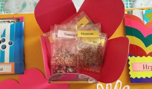 Кармашек в виде цветка с пакетиками с семенами