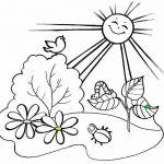 Раскраска Солнце над поляной