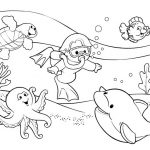 Раскраска Подводный мир с дельфином, осьминогом, водолазом