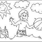 Раскраска Мальчик с мячом в воде