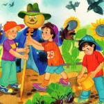 Дети в огороде с пугалом