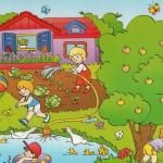 Дети веселятся на огороде, играют в мяч, плавают