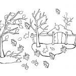 Раскраска с листопадом в деревне