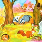 Картинка с животными, готовящимися к зиме