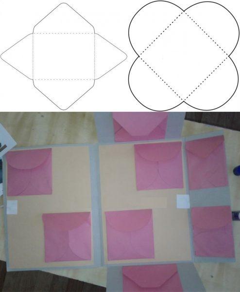 Шаблоны конвертов; конверты наклеены внутри развёрнутой папки
