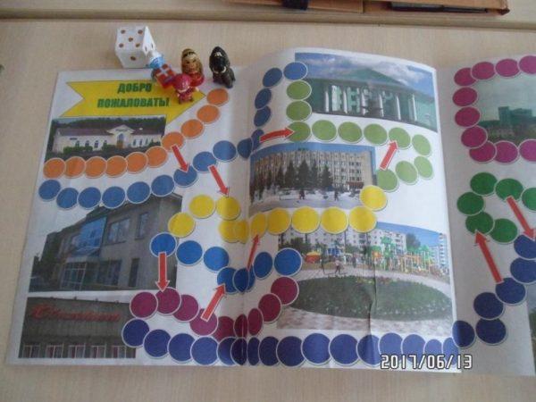 Игровое поле «Путешествие по городу», кубик и фишки