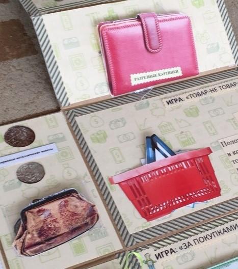 Кармашки лэпбука в виде кошельков разной формы и корзины покупателя