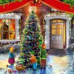 Картинка Дети наряжают ёлку во дворе