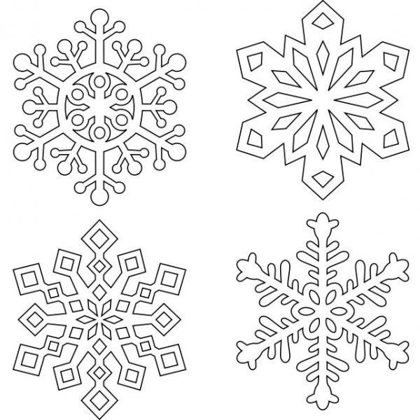 Четыре трафарета со снежинками