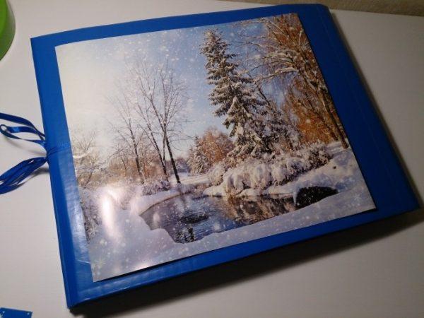 Лэпбук с картинкой зимнего пейзажа