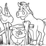 Раскраска Лошадь, свинья и петух