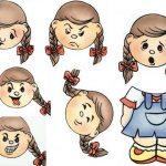 Фигурка девочки и разные выражения лица