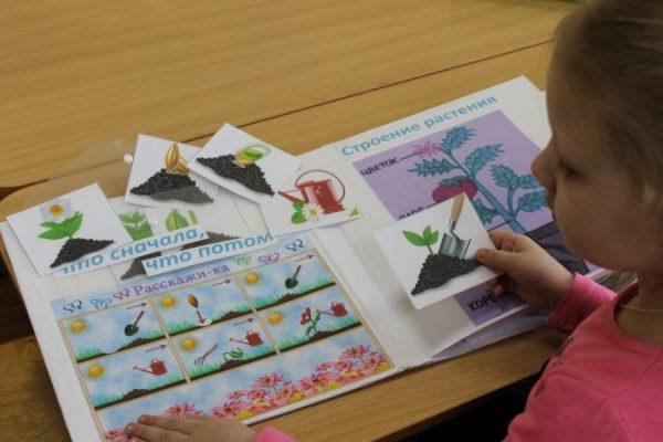 Девочка рассматривает лэпбук на огородную тему, держит в руке карточку