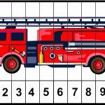 Пожарная машина с разметкой для разрезания на 10 частей