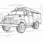 Шаблон для раскрашивания Пожарная машина