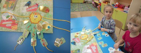 На шнурках собраны разные пищевые цепи; дети составляют пищевые цепи — нанизывают карточки на шнуры