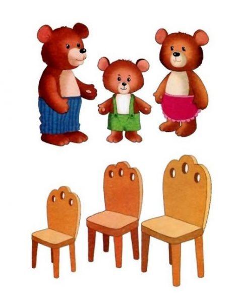 Изображения трёх медведей и трёх стульев разного размера
