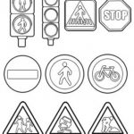 Шаблон для раскрашивания Дорожные знаки