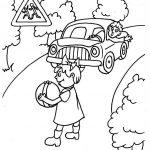 Шаблон для раскрашивания Девочка с мячом на дороге