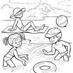 Шаблон для раскрашивания Дети играют на воде