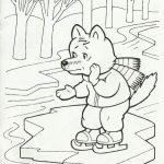 Шаблон для раскрашивания Волчонок на льдине на реке